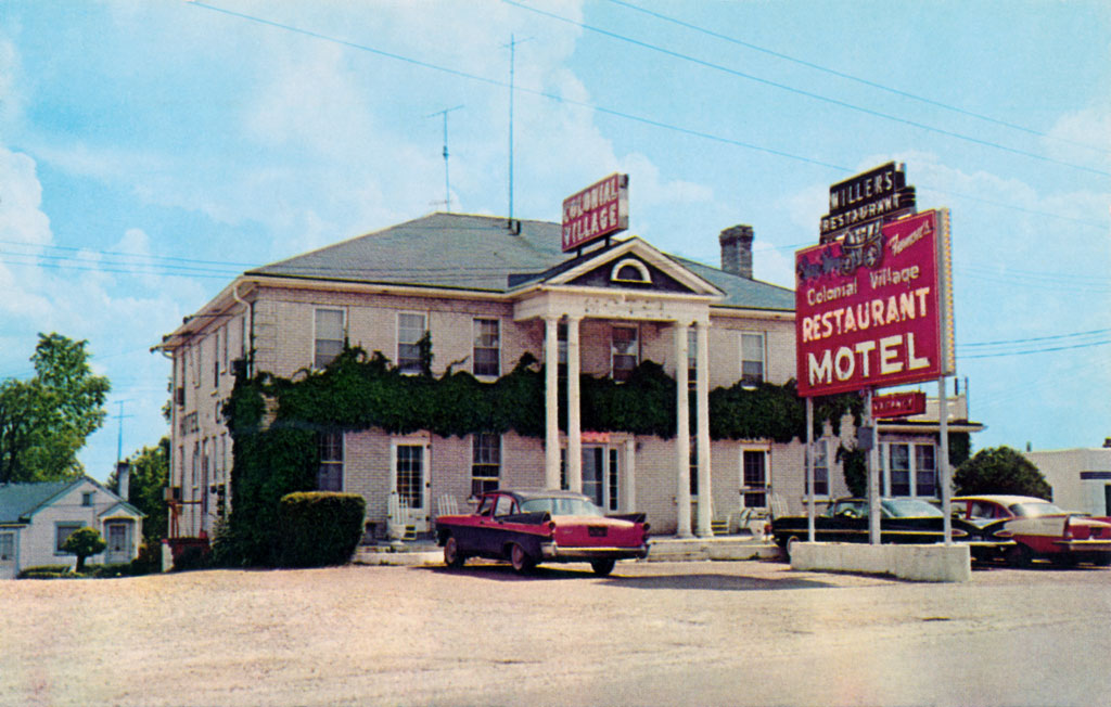 1957 Dodge Coronet & 1957 Chrysler Windsor at the Colonial Village Restaurant Motel in Rolla, Missouri