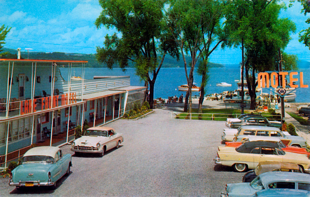 1955 DeSoto Fireflite Sportsman & 1955 Plymouth Belvedere Convertible at the Lake Front Motel in Cooperstown, New York